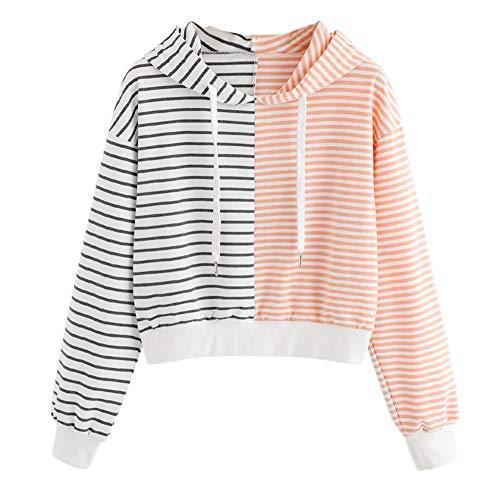 Kapuzen Xl Sweatshirt Jersey (Honestyi Damen Langarm Streifen Patchwork mit Kapuze Pullover Sweatshirt Bluse Tops(Rosa,XL))