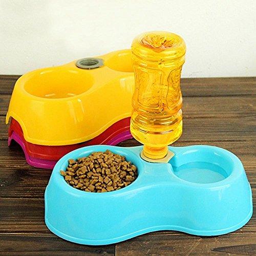 BENHAI 1 STÜCK Futternapf Hund Katze Port Wasserspender Dual Automatische Pet Bowl Hund Hund Katze Futternapf Automatische Wasserspender Feeder Trinkbrunnen Doppel Gerichte (blau)