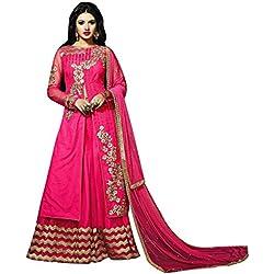 Terramart_Lehanga Set Dark Pink Color & Gold Embroidered Set For Women