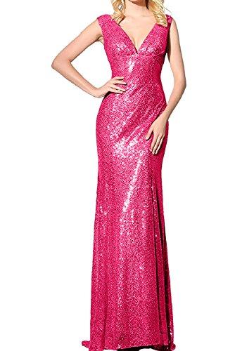 Toscana sposa rosa antico sexy nuovo Scollo a V sirena Paillette sera vestiti lungo Party vestiti prom abiti vestiti da ballo Pink