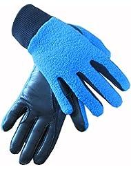 Childrens piel forro polar invierno caballo equitación guantes manos de Equestrian, color azul real, tamaño mediano