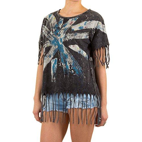 Damen Shirt, FRANSEN PRINT SHIRT SHIRT, KL-54100 Grau