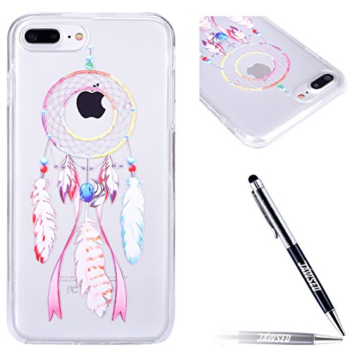 JAWSEU Coque pour iPhone 7 Plus,iPhone 7 Plus Silicone Etui Ultra Slim,iPhone 7 Plus Soft Cover Proective Case,2017 Neuf Design Noctilucent Flash Funny Pattern Femme Homme TPU Case Ultra Mince Doux Ge Dreamcatcher