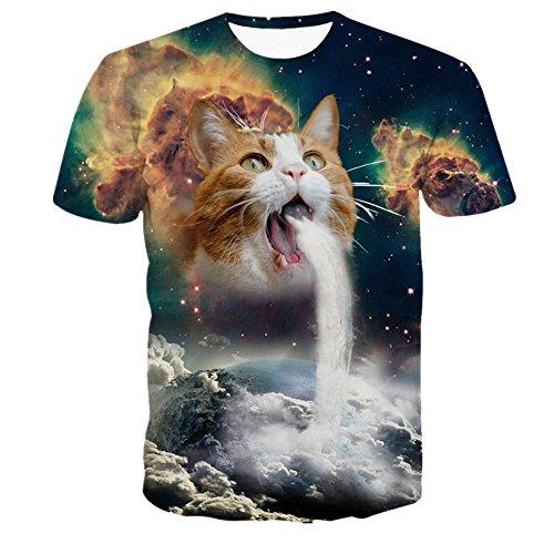 Herren Shirts,Frashing Männer Frühjahr und Sommer 3D Star Cat Druck Trend von Kurzarm-T-Shirt Top Blouse 3D Bedruckte Blumen Sommer Kurzarm T-Shirts T-Shirts (L, Mehrfarbig) (Top Cat Tee)