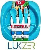 Lukzer 12 Pcs All In One Picnic Travel Plastic Dinner Set ( 3 Square Plates,3 Forks,3 Spoons,3 Knives), Multi-Color
