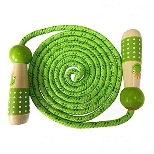 Towinle Springseil, Seilspringen für Kinder Einstellbares Springseil mit Cartoon Holzgriff Kinder Springseil aus Baumwolle 2.7m Kinder Springen Seil mit Tragetasche