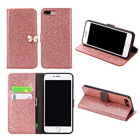 Xifanzi Wallet PU Leather Case for iPhone 7 Rose Gold Glitter Sparkly Flip Case Cute White Butterfly Design Folio Stand Luxury Purse Flip Card Pouch Stand Cover with Magnetic Buckle Protective Cell Phone Cases for Apple iPhone 7