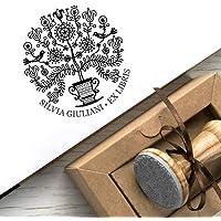 Timbri Personalizzati, Ex libris Personalizzabile, Timbro Albero della Vita, Regalo Personalizzato Albero Giglio Fiori Uccelli Canterini, Scatole Regalo