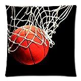 Fashion Kopfkissen Modisches Design Basketball Reißverschluss Kissen 45,7x 45,7cm (Zwei Seiten) dekorativer Überwurf-Kissen, Kissen Fall, Kissenbezüge