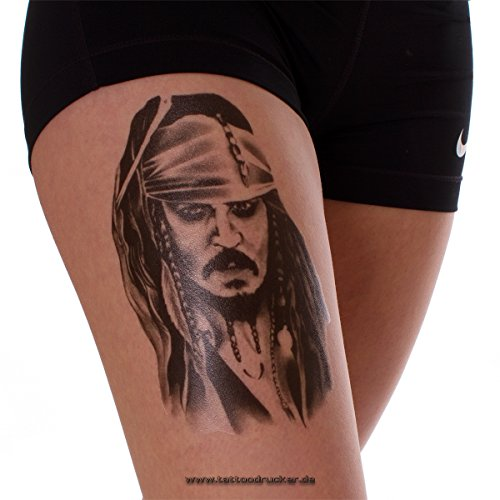 1 x Jack Sparrow Tattoo - Fluch der Karibik - Waden- und Arm Tattoo (Jack Sparrow Kostüm Make Up)