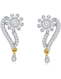 Spargz Ethnic Gold Plated With CZ Stone Floral Earrings For Women AIER 587