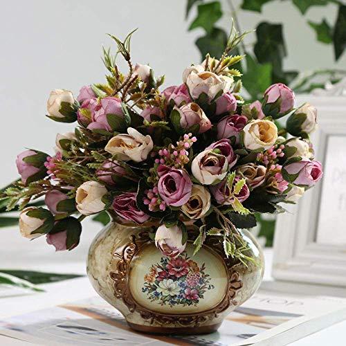 JACKJO Künstliche Blumen, Blumenschmuck, Plastikblumen und Vasen, Keramiktöpfe in Töpfen, Wohnkultur, schöne Dekorationen - Champagner -