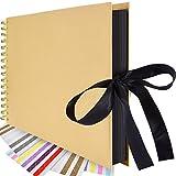 Sammelalbum 12,4 x 8,27 Zoll Fotoalben Hardcover Hochzeit Gästebuch Spirale Gebunden Sketchbook mit 4 Blättern Foto Ecke für DIY Scrapbooking