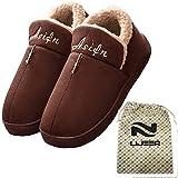 Casera de interior de algodón zapatillas de invierno acogedor espuma de la memoria caliente antideslizante resistente al desgaste de lana arrastre Lijeer (US7-7.5=UK6-6.5=EUR39-40, marrón)