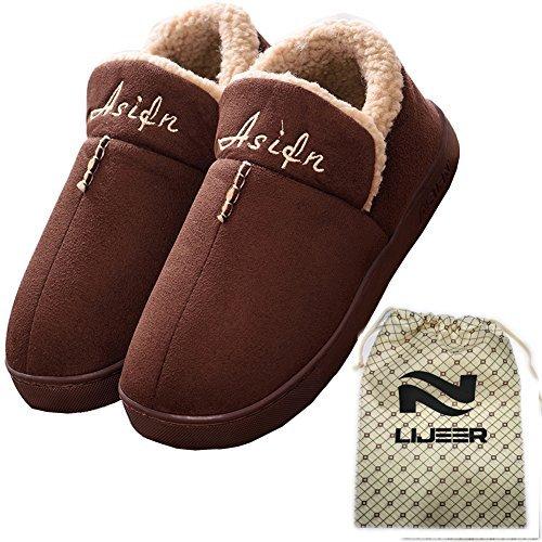 Asifn interni casa pantofole di cotone invernale accogliente memory foam warm antiscivolo resistente all'usura lana trascinamento lijeer 39/40 eu, marrone