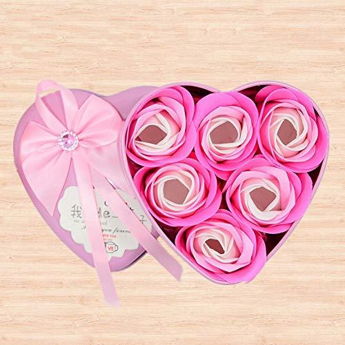 SED Künstliche Blume - Seifen-Blumen-Geschenkbox Tanabata Valentinstag Kreatives Geschenk Hochzeits-Förderung-Herz Geformtes Künstliches Rosen, Rosa,M
