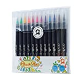 Craftamo Pinselstifte - 12 Hochwertige Weiche & Flexible Echte Pinselspitzen Aquarell Marker Pens - zum Malen, Ausmalen, Zeichnen, Basteln & Kalligraphie