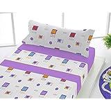 Sabanalia - Juego de sábanas franela Adele (disponible en varios colores y tamaños) - Cama 90, lila