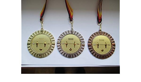 Gold Gro/ße Metall 70mm Fanshop L/ünen Medaillen Emblem 50mm Gold e107 Medaille Medaillen-Band - Tischfu/ßball mit Alu Emblem 50mm - Kicker Fu/ßball