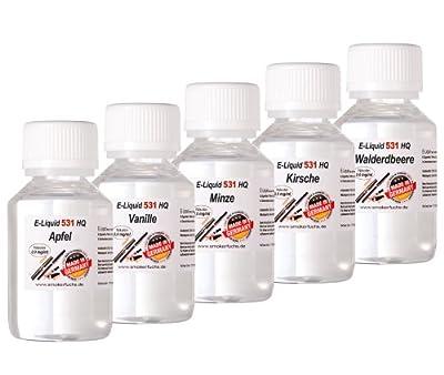 5 x 100 ml E-Liquid - No. 531 HQ - MIX 1 - Apfel Vanille Minze Kirsche Wald-Erdbeere - 0,0mg Nikotin - MADE in GERMANY von ReiTrade
