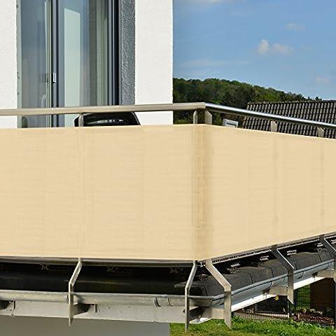 Protección visual para barandillas de balcón o terraza – Crema (beige) - 300x90 cm - Resistente a los rayos UVA y el