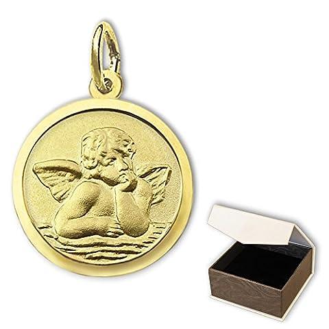 CLEVER SCHMUCK Goldener kleiner Anhänger Mini Engel rund Ø 10