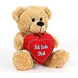 Süßer Teddybär Plüschbär in hellem Braun mit rotem Herz Teddy Bär Ich liebe Dich 20 cm