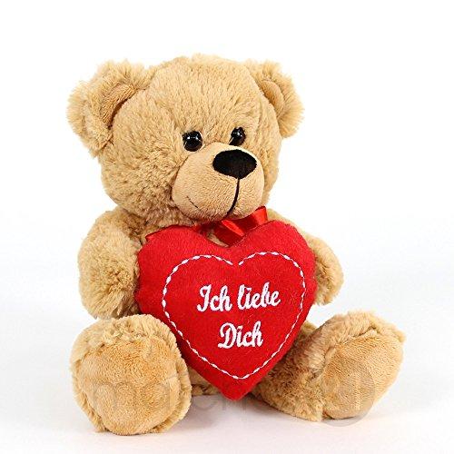 matches21 Süßer Teddybär Plüschbär in hellem Braun mit rotem Herz Teddy Bär Ich liebe Dich 20 cm