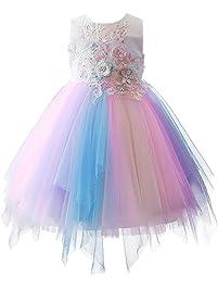 db77f2e1a60b IWEMEK Baby Girls Unicorn Princess Birthday Dress Kids Halloween Cosplay  Ruffled Sleeveless Rainbow Tulle Tutu Dress