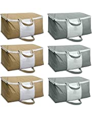 HomeStrap Set of 6 Underbed Storage Bag, Storage Organizer, Blanket Cover with Front Handle - Grey & Beige