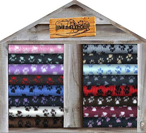 dry bed Vet Fleece Wurfunterlage für Hunde/Katzen, mit Pfoten-Muster, zum Aufrollen, aus Fleece, Rutschfeste Unterseite