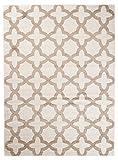 Carpeto Rugs Tapis Salon Ecru 140 x 190 cm Moderne Geometrique/Furuvik Collection