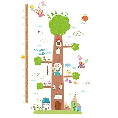 Winhappyhome Tier Baum Kinder HöHe Maß Wachstum Diagramm Wand Kunst Aufkleber Entfernbare Dekor Abziehbilder für Schlafzimmer Wohnzimmer Nursery TV Hintergrund (Baum-höhe-diagramm)