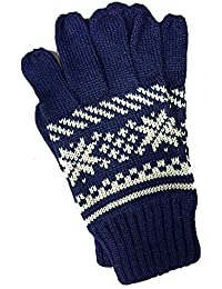 Unisex Navy with Cream Fair-Isle Pattern Gloves
