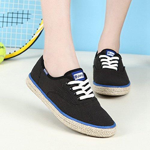 Damen Schnürhalbschuhe Rundzehen Canvas Freizeitschuhe Flachs Sohle Atmungsaktiv Niedrige Bequeme Schuhe Schwarz