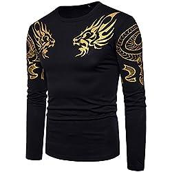 YCHENG Hombres Cuello Tótem del Dragón Bronceado Manga Larga Camisa Blusa Casual Shirt Top Negro XXL