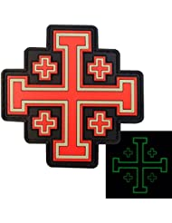Glow Dark Order Holy Sepulchre Jerusalem Cross Templar Crusaders Tactical Morale PVC Fastener Patch