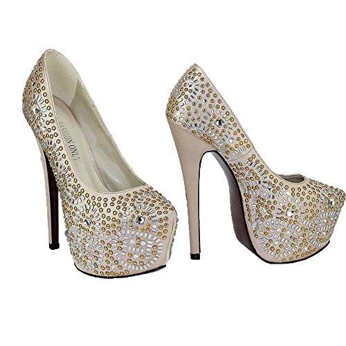 Trend-estrela-women-salto Sapatos De Plataforma De Tamanho Decorada Crânio-party-casamento De Diamante 3-8 Silenciosamente 5 - Champanhe