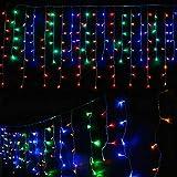 takestop 100 LED Pioggia Tenda Tendina 091/422 Neve LUCI 500x70 cm Colorate Filo Verde Albero di Natale Cascata Luminosa IP44 da Esterno Impermeabile Controller 8 FUNZIONI
