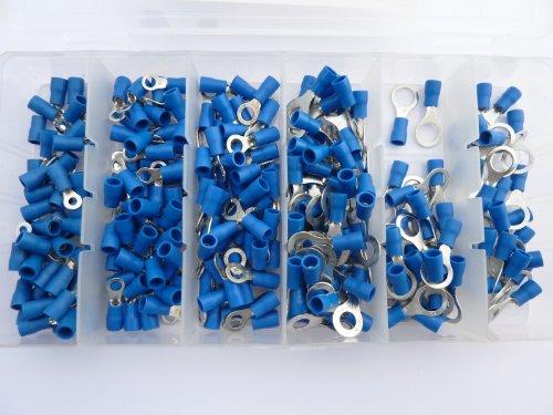 Preisvergleich Produktbild 250 Ring Kabelschuhe / Ringoese M3 - M8 - Sortiment Nr. 2 - blau für Kabel von 1, 5 mm² - 2, 5 mm² SK-DV