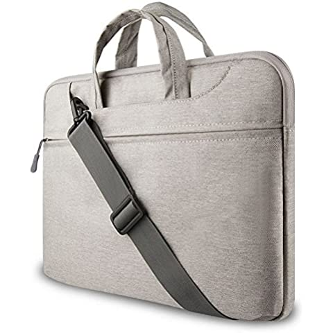 GADIEMENSS Water-resistant Laptop Shoulder Briefcase Bag Portable Computer case handbag For Apple Macbook Air Pro and other Notebook (Gray, 13.3 inches)