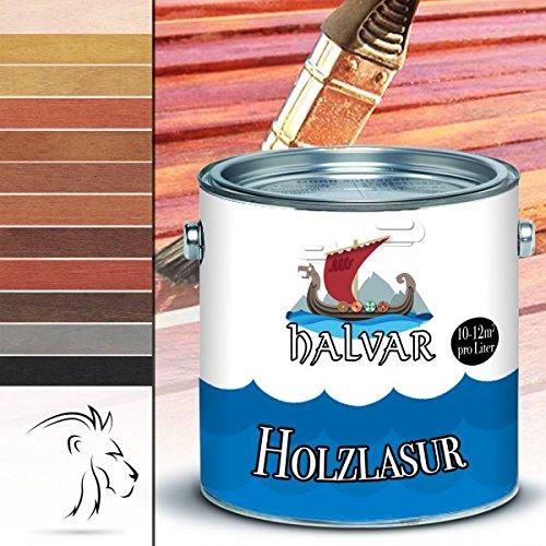 Halvar Holzlasur skandinavische Lasurwetterfest - atmungsaktiv - Lichtbeständig - aromatenfrei - tropfgehemmt - UV-beständig in 12 Farbtönen Außen-Lasur Holz-Schutz Holz-Öl (Ebenholz, 10L)