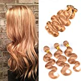 Ugeat 28' 70cm 300g Remy Cabello Humano Extensiones Tejido Brasileno Body Wave Human Hair Natural Extension Color # 27