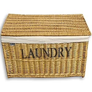 Homescapes Natural Willow Wicker Storage Basket Chest With Lid And Lining Divided Laundry Hamper