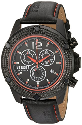 Versus by Versace Men's 'AVENTURA' Quartz Stainless Steel and Leather Casual Watch, Color Black (Model: SOC080015)