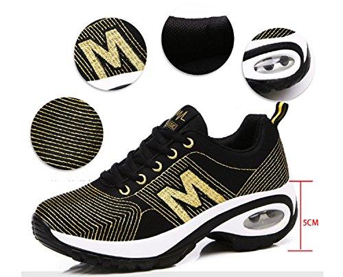 Scarpe da corsa da trekking da donna Scarpe casual Antiscivolo Indossabile da ginnastica Sport per il tempo libero Elegante maglia traspirante Low-Top Gold