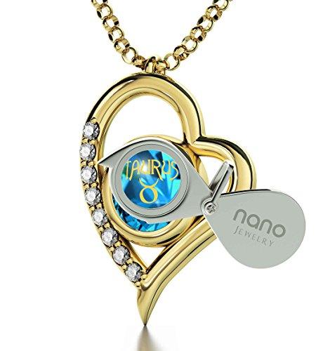 Pendentif Coeur Signe du Zodiaque Plaqué Or - Collier Taureau avec Inscription en Or 24ct sur un Cristal Swarovski, 45cm - Bijoux Nano Turquoise