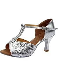 Azbro Mujer Zapato de Baile Latín Lentejuelas de Alto Tacón con Puntera Abierta