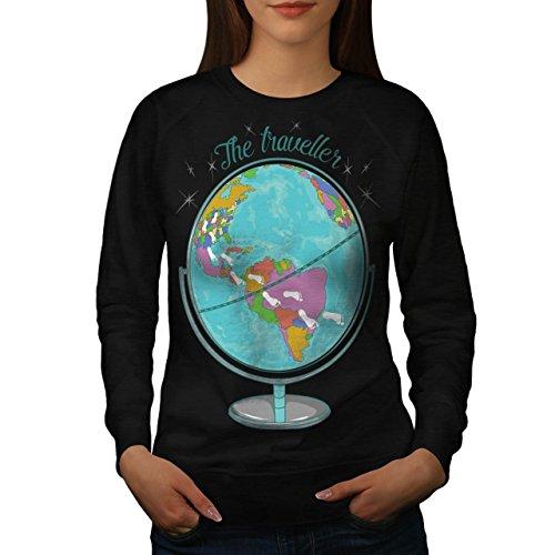 Globus Reisende Welt Karte Frau S Sweatshirt   Wellcoda