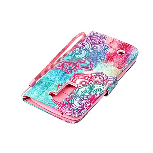 LG K8 2016 Cover Flip, LG K8 2016 Custodia in Pelle, Moon mood ® PU Leather Soft TPU Inner Flip Dual-slot Wallet Pelle Cikou and Bracket Function Prevent Scratch Protect Phone Case Custodia Cover per  Flower